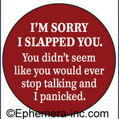 i m sorry i slapped you you didn t seem like you would stop talking and
